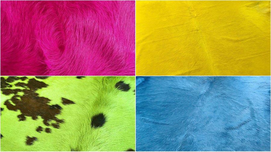 Kuhfell Teppich pink, gelb, blau, grün