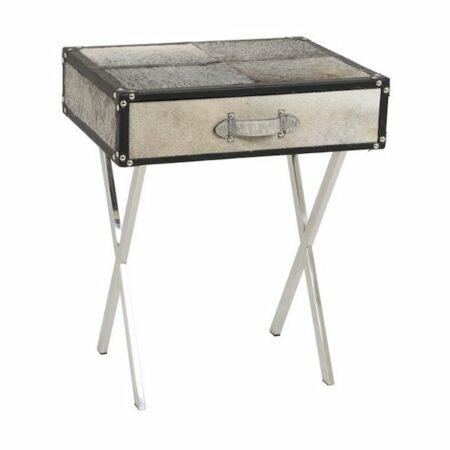 Tisch, Beistelltisch RICERCA grau aus Kuhfell in Patchwork von Light & Living