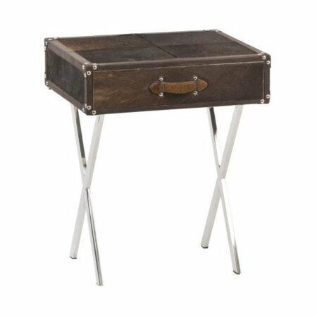 Tisch, Beistelltisch RICERCA braun aus Kuhfell in Patchwork von Light & Living