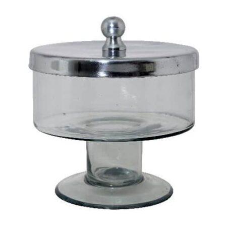 Runde Glasdose aus Glas mit Fuß und Metalldeckel