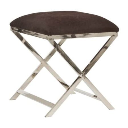 Hocker GRENA mit Sitzfläche in braunem Kuhfell Füße poliertes Metall von Light & Living
