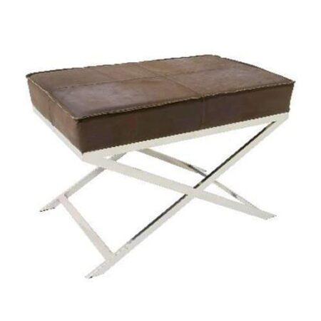 Hocker GRENA mit Sitzfläche in braunem Leder, Füße poliertes Metall von Light & Living