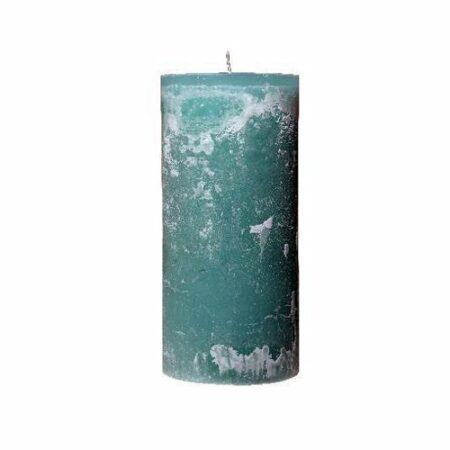 Kerze Türkis meliert 7x25 cm von der Marke Light und Living