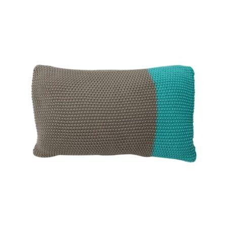 Kissen Block Farbe grau und Meergrün in Strickoptik von der Marke Light und Living 30x50 cm
