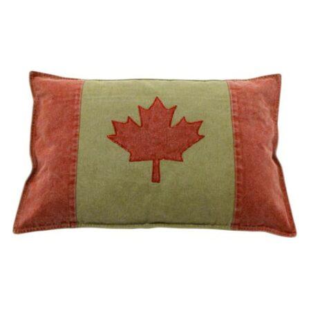 Kissen in Mitte beige und Seiten rot, in Mitte rotes Ahorn Blatt, kanadische Flagge von der Marke Light und Living 40x60cm