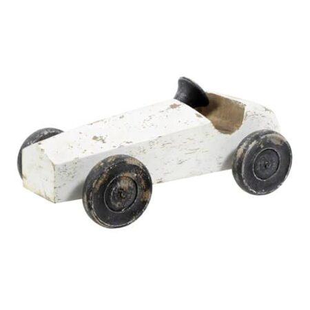 Ornament RACE Auto aus Holz in weiß, Räder Lenkrad schwarz von Light und Living