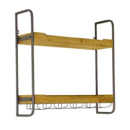 Regal für die Wand, Metallgestell mit 2 Ablageflächen aus massivem Holz