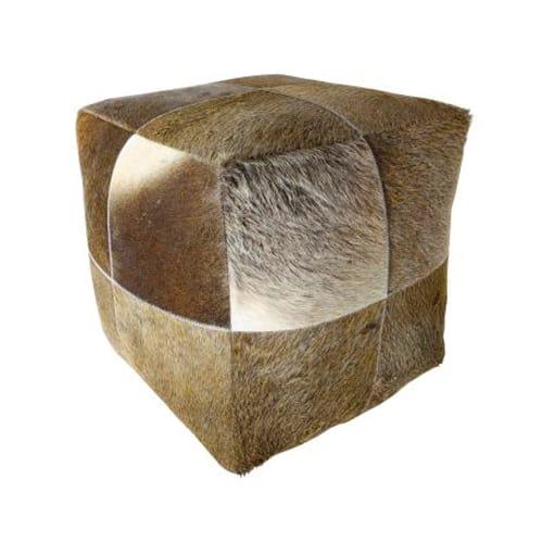 Sitzpuff, Patchwork aus Kuhfell in brauntönen von Light und Living