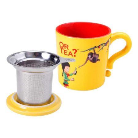 Teetasse in gelb mit Siebeinsatz für Tee und Deckel