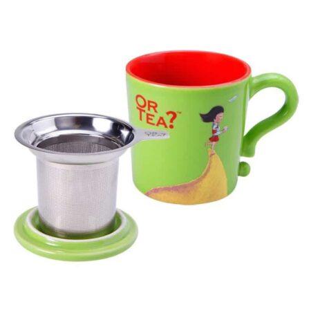 Teetasse in grün mit Siebeinsatz für Tee und Deckel