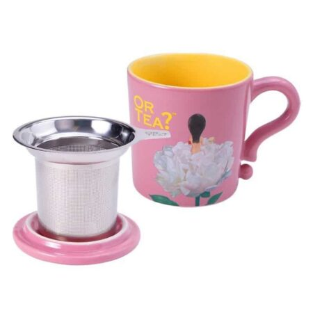Teetasse in rosa mit Siebeinsatz für Tee und Deckel