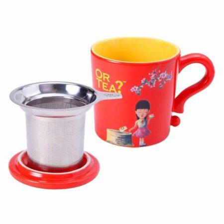 Teetasse in rot mit Siebeinsatz für Tee und Deckel