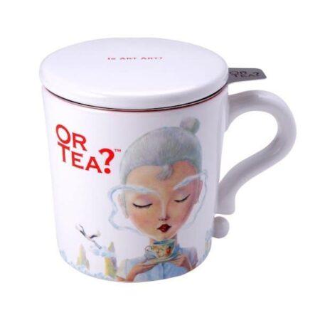Teetasse in weiss mit Siebeinsatz für Tee und Deckel
