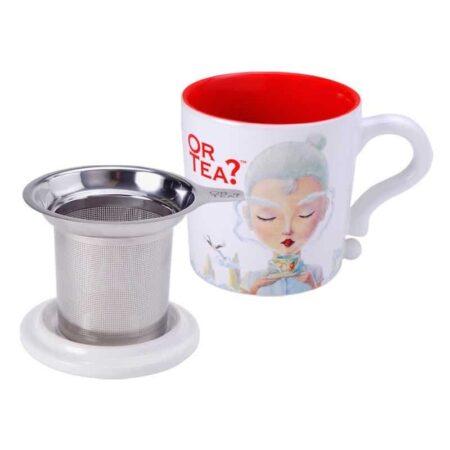 Teetasse in weiss mit Sieb und Deckel