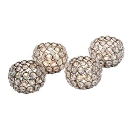 Teelicht Glaskristall im 4er Set in Form einer Kugel von der Marke Light und Living