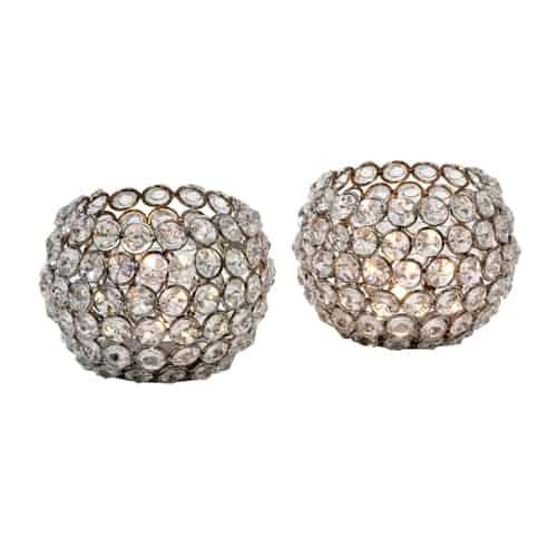 Teelicht Glaskristall im 2er Set in Form einer Kugel von der Marke Light und Living