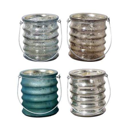 Teelicht 4er Set in blau grau mix