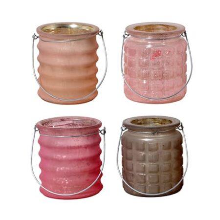 Teelicht 4er Set in rosa Braun mix