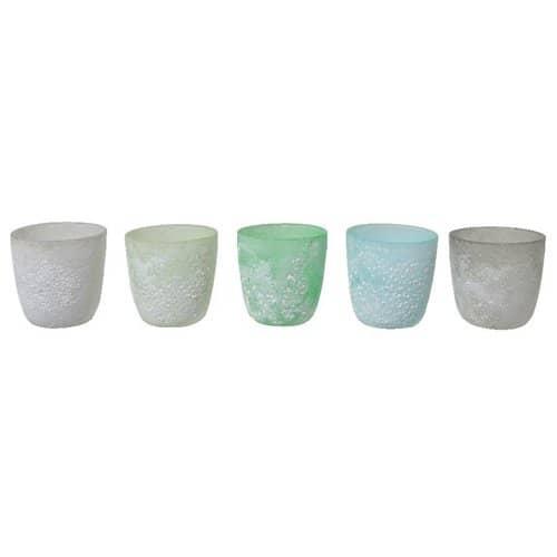 Teelicht 5er Set gesprenkelt grün blau grau Töne von Light und Living