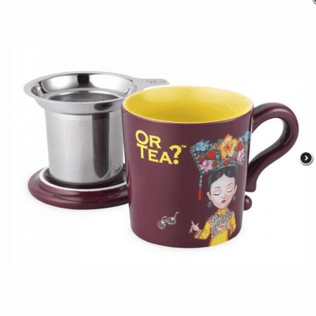 Teetasse in Bordeaux Rot mit Teesieb und Deckel