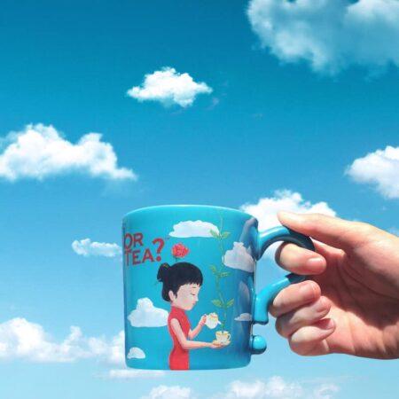 Teetasse – OR TEA? blue mug