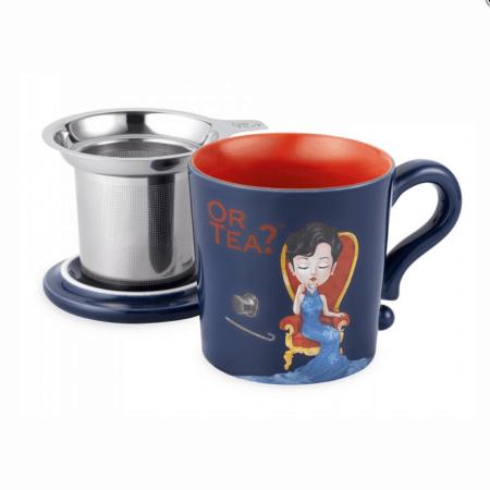 Teetasse in Indigo dunkelblau mit Teesieb und Deckel