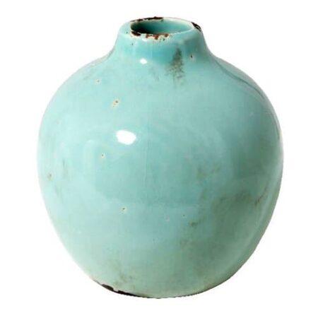 Vase Pom in hellgrün, ShabbyChic style