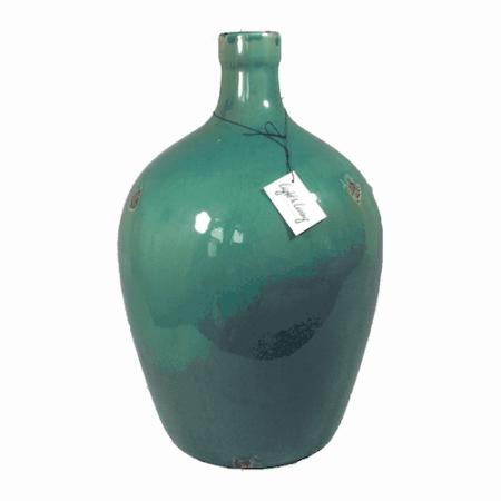 Vase STROOM WELLSVILLE aqua extra-big In grün aus Keramik ShabbyChic Style von der Marke Light und Living