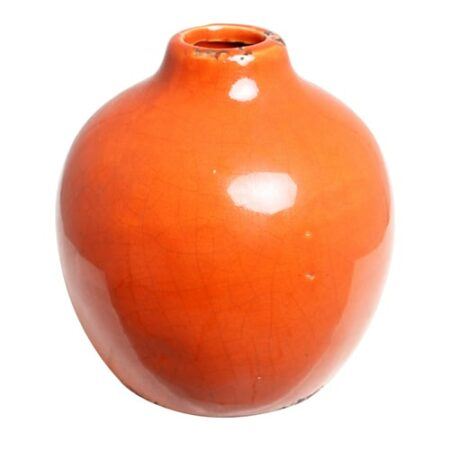 Vase Pom in orange, ShabbyChic style
