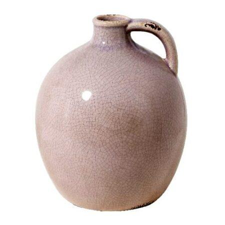 Vase Stroom in alrosa ShabbyChic style, bauchige Form mit Henkel