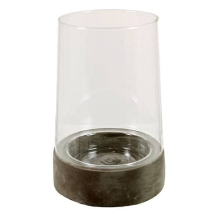 Windlicht Borya, Fuß aus Stein Gefäß aus Glas