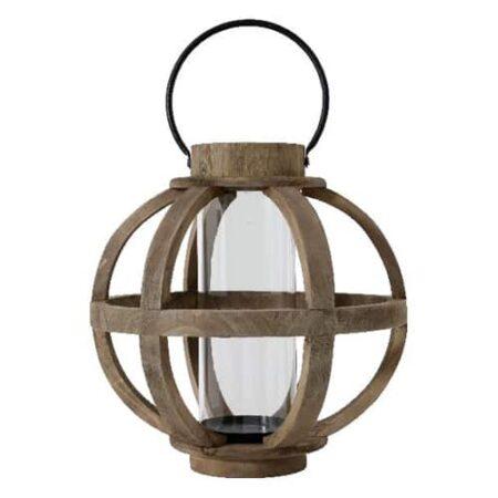 Windlicht rund aus Holz mit Glasgefäß in der Mitte für eine Kerze von der Marke Light und Living
