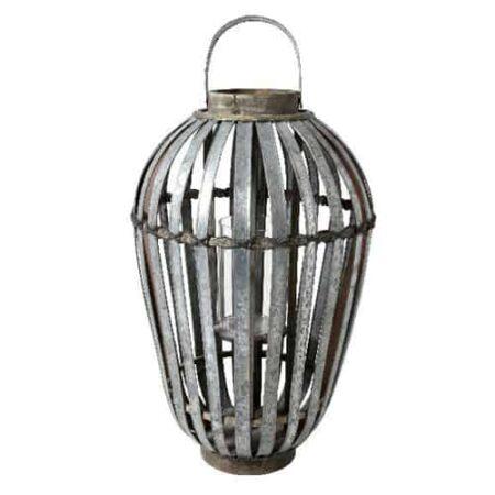 Windlicht aus Zink mit Glasgefäß in der Mitte für Kerze von der Marke Light und Living