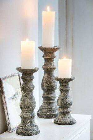 Kerzenständer KARIMUN, Kerze CANDLE weiss