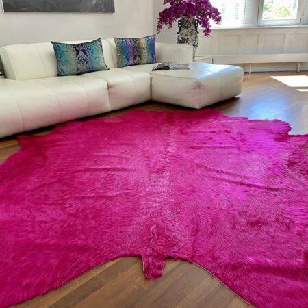 Kuhfell Teppich fuchsia-pink, Kuhfell/Stierfell Teppich ca. 5 m² eingefärbt in pink