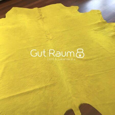 Kuhfell Teppich bunt farbig eingefärbt in Gelb