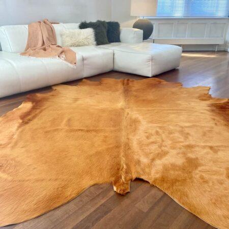 Kuhfell Teppich Senfgelb, luxuriöser Fell Teppich, ca. 5 m² eingefärbt in edlem Senfton