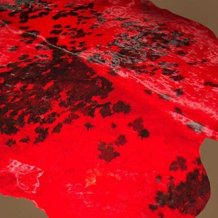 Kuhfell Teppich farbig bunt eingefärbt Tricolor-Rot