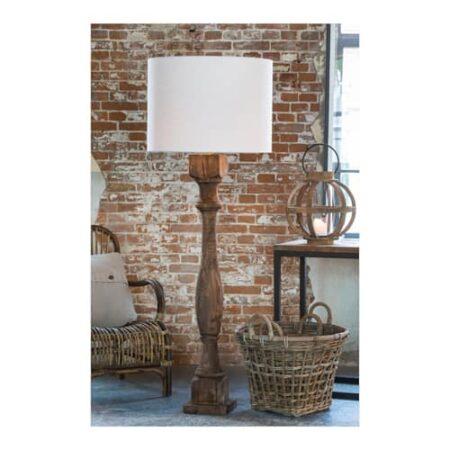 Stehleuchte Robbia, Fuß aus Holz mit weißem Runden Lampenschirm von Light und Living