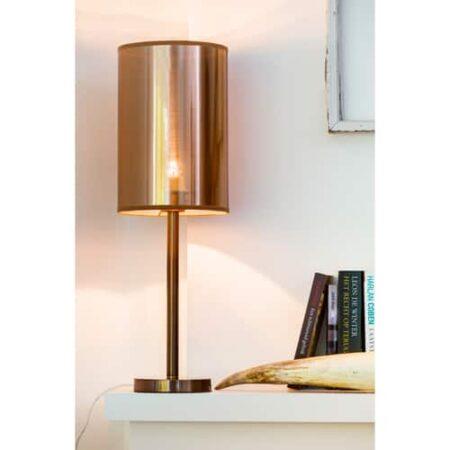 Tischlampe Washington, Lampenfuß in Kupfer, Lampenschirm Rotgold, von Light & Living