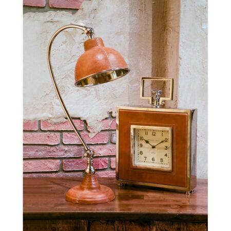 Tischleuchte Schreibtischlampe DAX in braunem Leder