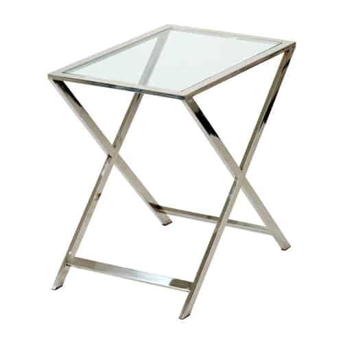 Tisch Beistelltisch SORO, glänzendes Metallgestell mit einer Glasplatte