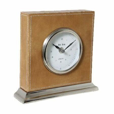 Tischuhr BIG BEN, klassisches Design, aus braunem Leder von Light & Living
