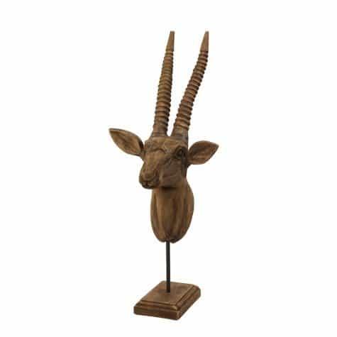 Ornament Skulptur IBEX Steinbock aus Holz, auf Fuß von Light & Living
