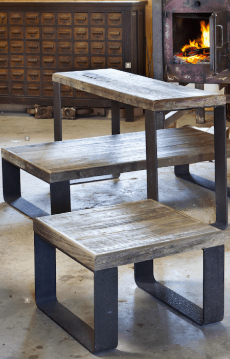 Konsolentisch, Beistelltisch, Couchtisch aus Holz und Metall Industriedesign Light & Living