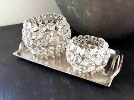 Tablett NIBE und Teelicht Glaskristall