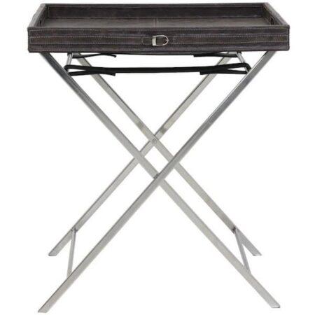 Tisch mit Tablett DANLEY Leder anthrazit silber von Light & Living