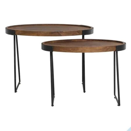 Beistelltisch LOJA 2er-Set Holz Tischplatte oval von Light & Living