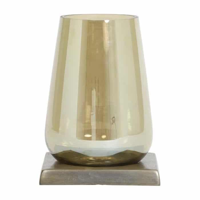 Windlicht, Vase, Glasgefäss in Gold Braun auf Sockel in antik bronze von light und living