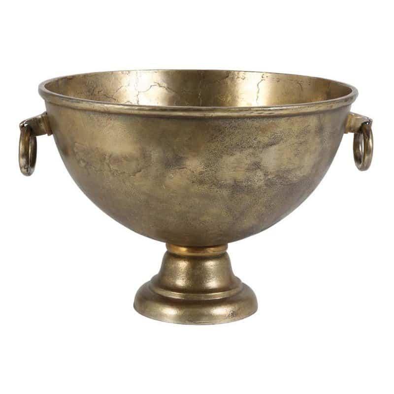 Sektkühler CHIQUE mit Henkel in antik Bronze aus rohem Metall, Industrie Style von Light & Living